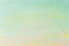 De olieverfachtergrond, heldere ultramarijn blauwe gele roze, turkooise, grote borstel strijkt het schilderen gedetailleerd gewev Royalty-vrije Stock Afbeeldingen