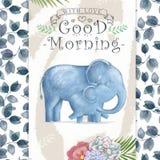 De olifant en de moeder van de waterverfbaby De leuke Olifanten voor groetkaart, verjaardag, nodigen, moederdag het schilderen il vector illustratie