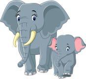 De olifant van de baby en van de moeder stock foto