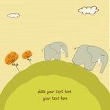 De olifant van de baby en zijn moeder Stock Foto