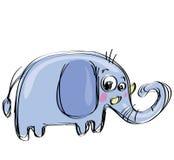 De olifant van de beeldverhaalbaby in een stijl van de naif kinderachtige tekening Stock Foto