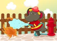 De olifant van de brandweerman royalty-vrije illustratie