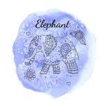 De olifant van de lijnkrabbel op waterverfachtergrond Malplaatje voor affiche, kaart Stock Fotografie