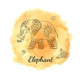 De olifant van de lijnkrabbel op waterverfachtergrond Malplaatje voor affiche, kaart Royalty-vrije Stock Foto
