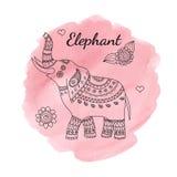 De olifant van de lijnkrabbel op waterverfachtergrond Malplaatje voor affiche, kaart, etiket, sticker Royalty-vrije Stock Fotografie