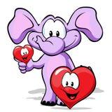 De olifant van de valentijnskaart met hart Royalty-vrije Stock Foto's