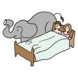 De olifant van het slaapkamerpaar in de ruimte Stock Foto's
