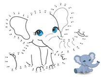 De olifant verbindt de punten en de kleur Royalty-vrije Stock Foto's