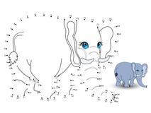De olifant verbindt de punten en de kleur Royalty-vrije Stock Afbeeldingen