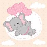 De olifant vliegt op ballons Stock Afbeeldingen
