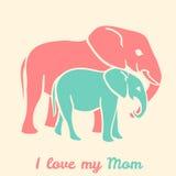De olifanten van de moedersdag vector illustratie