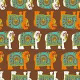 De olifants naadloos patroon van India Royalty-vrije Stock Afbeeldingen