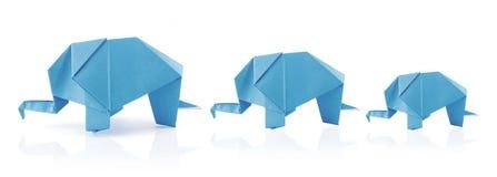 De olifantsfamilie van de origami Stock Foto's
