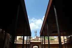 De olifantsstal rond Amer Amber Fort in Jaipur royalty-vrije stock foto