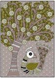 De olijf van de het vogeltjeboom van India en bruine kleuren Stock Foto