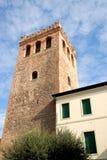 De olijfboom en de hemel van de Crenellatedtoren met witte wolken in Monselice in Veneto (Italië) stock foto