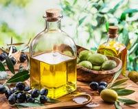 De olijfolie en de bessen zijn op de houten lijst onder de olijf RT stock foto