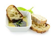 De olijfolie en de azijn van het brood Royalty-vrije Stock Afbeelding