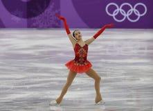 De olympische kampioen Alina Zagitova van Olympische Atleet van Rusland voert in Team Event Ladies Single Skating het Vrije Schaa stock foto
