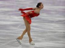 De olympische kampioen Alina Zagitova van Olympische Atleet van Rusland voert in Team Event Ladies Single Skating het Vrije Schaa stock afbeelding