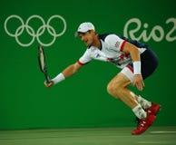 De olympische kampioen Andy Murray van Groot-Brittannië in actie tijdens mensen ` s kiest def. van Rio uit 2016 Olympische Spelen Royalty-vrije Stock Afbeeldingen