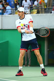 De olympische kampioen Andy Murray van Groot-Brittannië in actie tijdens mensen ` s kiest def. van Rio uit 2016 Olympische Spelen Stock Foto