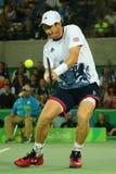 De olympische kampioen Andy Murray van Groot-Brittannië in actie tijdens mensen ` s kiest def. van Rio uit 2016 Olympische Spelen Stock Fotografie