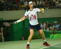 De olympische kampioen Andy Murray van Groot-Brittannië in actie tijdens mensen ` s kiest def. van Rio uit 2016 Olympische Spelen Royalty-vrije Stock Fotografie