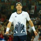 De olympische kampioen Andy Murray van Groot-Brittannië in actie tijdens mensen ` s kiest def. van Rio uit 2016 Olympische Spelen Royalty-vrije Stock Foto's