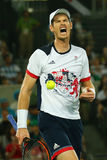 De olympische kampioen Andy Murray van Groot-Brittannië in actie tijdens mensen ` s kiest def. van Rio uit 2016 Olympische Spelen Stock Foto's