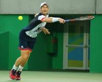 De olympische kampioen Andy Murray van Groot-Brittannië in actie tijdens mensen ` s kiest def. van Rio uit 2016 Olympische Spelen Stock Afbeeldingen