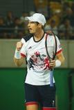 De olympische kampioen Andy Murray van Groot-Brittannië in actie tijdens mensen ` s kiest def. van Rio uit 2016 Olympische Spelen Royalty-vrije Stock Foto