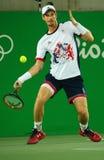 De olympische kampioen Andy Murray van Groot-Brittannië in actie tijdens mensen ` s kiest def. van Rio uit 2016 Olympische Spelen Royalty-vrije Stock Afbeelding