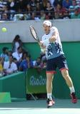 De olympische kampioen Andy Murray van Groot-Brittannië in actie tijdens mensen ` s kiest halve finale van Rio uit 2016 Olympisch Stock Fotografie