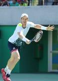 De olympische kampioen Andy Murray van Groot-Brittannië in actie tijdens mensen ` s kiest halve finale van Rio uit 2016 Olympisch Royalty-vrije Stock Foto