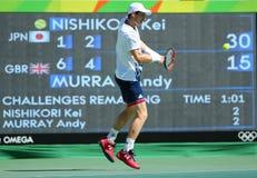 De olympische kampioen Andy Murray van Groot-Brittannië in actie tijdens mensen ` s kiest halve finale van Rio uit 2016 Olympisch Royalty-vrije Stock Afbeeldingen