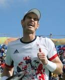De olympische kampioen Andy Murray van Groot-Brittannië in actie tijdens mensen ` s kiest kwartfinale van Rio uit 2016 Olympische Stock Fotografie
