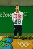 De olympische kampioen Andy Murray van Groot-Brittannië tijdens tennismensen ` s kiest medailleceremonie van Rio uit 2016 Olympis Stock Foto
