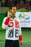 De olympische kampioen Andy Murray van Groot-Brittannië tijdens tennismensen ` s kiest medailleceremonie van Rio uit 2016 Olympis Stock Foto's