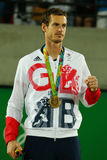 De olympische kampioen Andy Murray van Groot-Brittannië tijdens tennismensen ` s kiest medailleceremonie van Rio uit 2016 Olympis Royalty-vrije Stock Fotografie