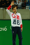 De olympische kampioen Andy Murray van Groot-Brittannië tijdens tennismensen ` s kiest medailleceremonie van Rio uit 2016 Olympis Royalty-vrije Stock Foto's