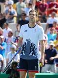 De olympische kampioen Andy Murray van Groot-Brittannië viert overwinning nadat de mensen ` s halve finale van Rio 2016 Olympisch Royalty-vrije Stock Fotografie