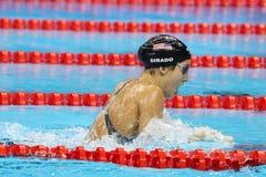 De olympische kampioen Madeline Dirado van Verenigde Staten zwemt de Vrouwen ` s 200m Individuele Hutspothitte 3 van Rio 2016 Oly Royalty-vrije Stock Fotografie