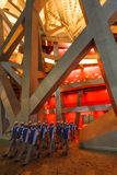 De olympische mensenvrijwilligers gaan het Stadion van het Nest van Vogels in royalty-vrije stock foto