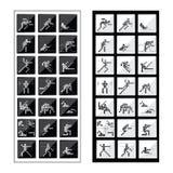 De olympische Pictogrammen van de pictogrammen zwarte witte Sport Stock Afbeeldingen