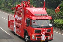 De olympische schoppen van het toortsrelais weg in Guangzhou Royalty-vrije Stock Foto's