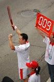 De olympische schoppen van het toortsrelais weg in Guangzhou Royalty-vrije Stock Fotografie