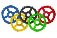 De olympische tandraderen van het spelenembleem Stock Foto