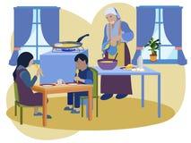 De oma bereidt ontbijt voor haar kleinkinderen voor Meer interier keuken In de minimalistische vlakke Vector van het stijlbeeldve stock illustratie