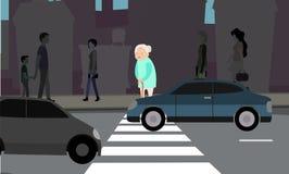 De oma kan ` t over de weg vector illustratie